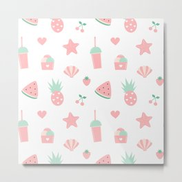 summer pattern with watermelon, pineapple, ice cream, heart, starfish, cherry, strawberry, shellfish Metal Print