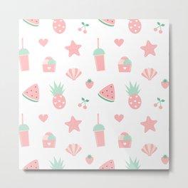 summer pattern with watermelon, pineapple, ice cream, heart, starfish, cherry, strawberry, shellfish Metal Print
