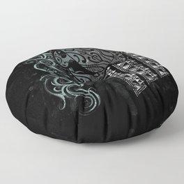 Slate Polynesian Tribal Turtle Grunge Floor Pillow