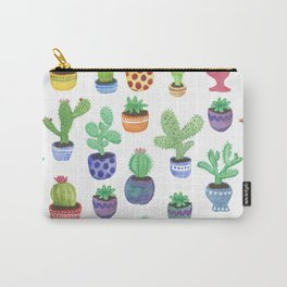Watercolor Cactus + Succulents Carry-All Pouch