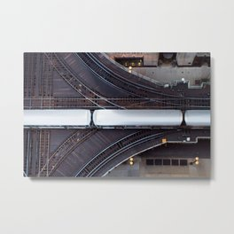 Chicago El Train Going Downtown Metal Print
