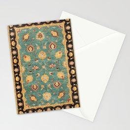 Oushak  Antique Gold Teal Turkish Rug Print Stationery Cards
