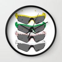 tour de france Wall Clocks featuring Tour de France Glasses by Pedlin