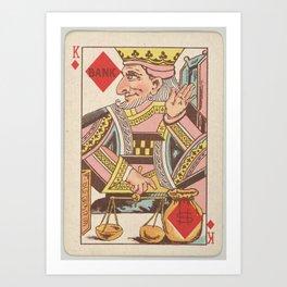 Vintage King of Diamonds Playing Card Illustration Art Print