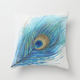 Colorful Peacock Feather Acrylic Painting  Throw Pillow