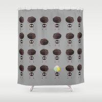 spirited away Shower Curtains featuring Susuwatari - Spirited Away by Nicolasfl