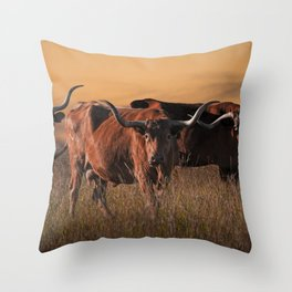 Texas Longhorn Steers on the Prairie at Sunset Throw Pillow