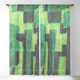 Three Green Puzzle Sheer Curtain