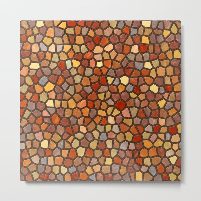 Fall Colors Mosaic Pattern - dark Metal Print