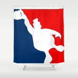 Funny Big Guy Sports Logo Shower Curtain