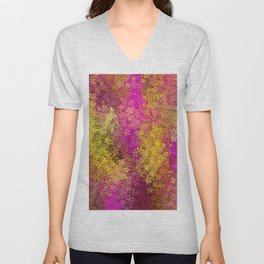 flower pattern abstract background in pink and yellow Unisex V-Neck
