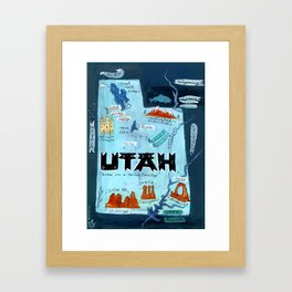 UTAH map Framed Art Print