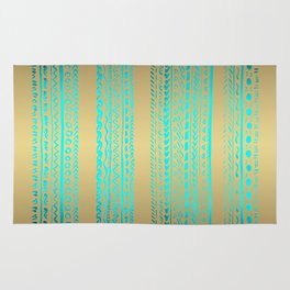 Aqua Blue Green Tribal Pattern on Gold Background Rug