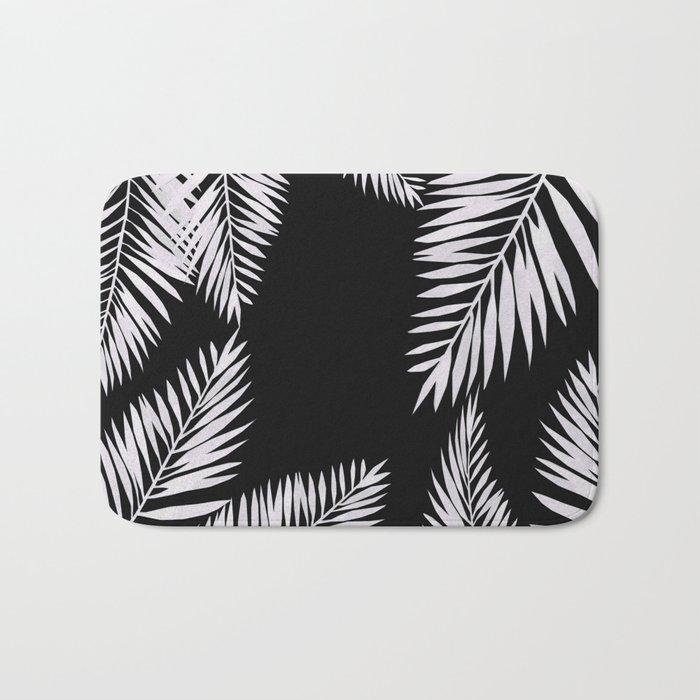 Watercolor tropical palm leaves black Bath Mat