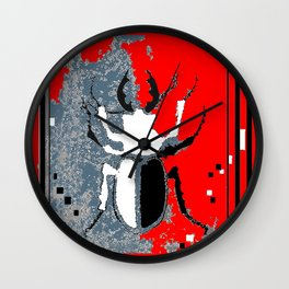 Staghorn Beetle in Red Wall Clock
