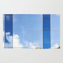 Beautiful abstract background of reflection in mirrored wall Rug