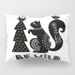 Be Wild Cute Owl And Squirrel In Scandinavian Style Pillow Sham
