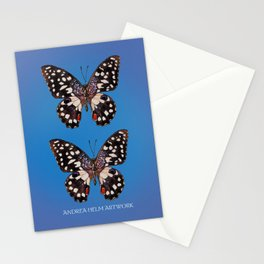 Common Lime Butterfly - Black, Blue & Lilac Stationery Cards