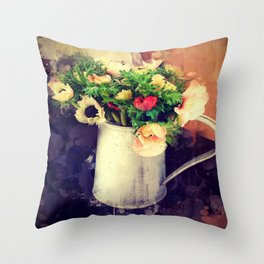 Anemones in Jug Throw Pillow