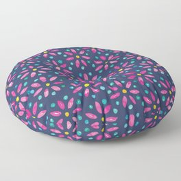 Watercolour Daisy Pattern | Pink and Green Floor Pillow