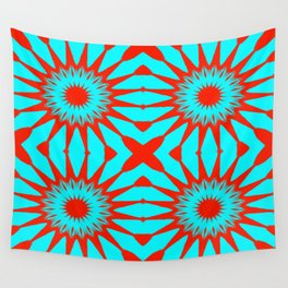 Turquoise & Red Pinwheel Flowers Wall Tapestry