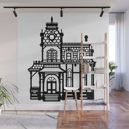 Old Victorian House - black & white Wall Mural