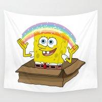 spongebob Wall Tapestries featuring spongebob squarepants imagination by aceofspades81