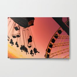 Carousel Flying into Sunset Metal Print