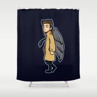 castiel Shower Curtains featuring Mini Castiel by Kana Aiysoublood