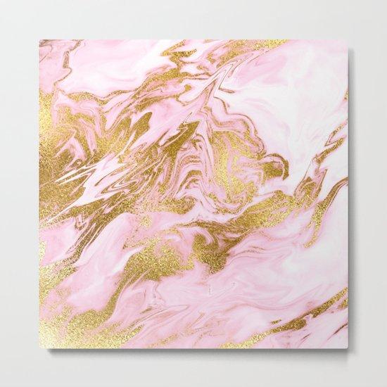 Rose Gold Mermaid Marble Metal Print