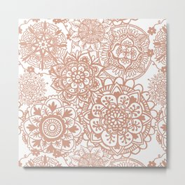 Rose Gold Mandala Pattern Metal Print