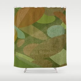 Abstract Autumn Green and Brown Shower Curtain