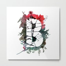 Watercolor hand drawn the letter B with flower pattern. ABC. Monogram Metal Print