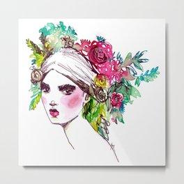 #Floral fashion portrait Metal Print