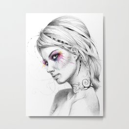 Beautiful Girl with Tattoos and Colorful Eyes Metal Print