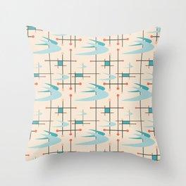 Mid Century Modern Boomerangs, blues on cream Throw Pillow