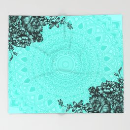 Floral Mandala Throw Blanket