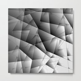 Glowing monochrome pattern of chaotic black and white fragments of glass, metal and ice floes. Metal Print