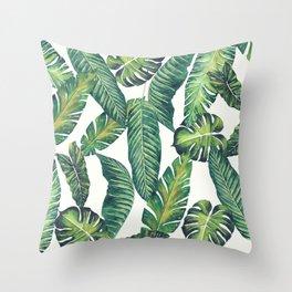 Jungle Leaves, Banana, Monstera II #society6 Throw Pillow