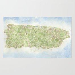 Puerto Rico watercolor map Rug