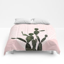 Cactus on Pink and Persian Mosaic Wall Comforters