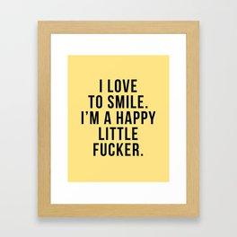 Funny smile text Framed Art Print