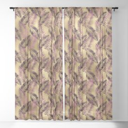 Tropical Palm Leaves Burgundy Gold Pattern Sheer Curtain