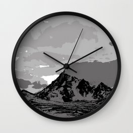 Chugach Mountains - B & W Pop Art Wall Clock