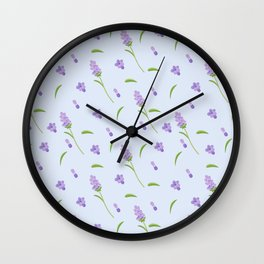 Lilac violet green abstract modern floral illustration Wall Clock