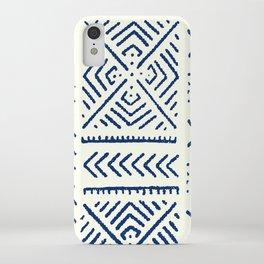 Line Mud Cloth // Ivory & Navy iPhone Case