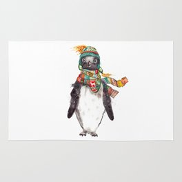 Penguin in a scarf (male) Rug