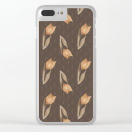 Brown tulips Clear iPhone Case