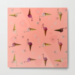 pink flamingo in ice cream Metal Print