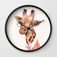giraffe Wall Clocks featuring Giraffe by Animal Crew
